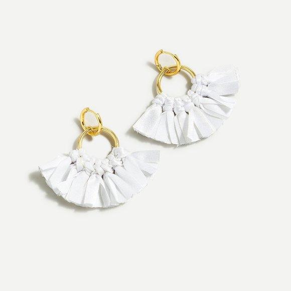 J.Crew Fabric Fan Earrings - White